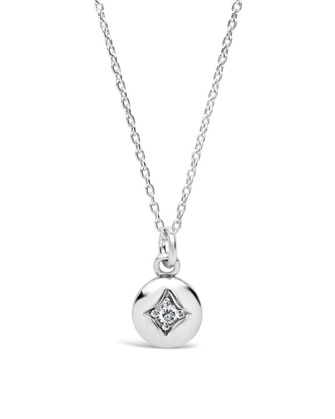 Sterling Silver CZ Disk Necklace Necklace Sterling Forever Silver