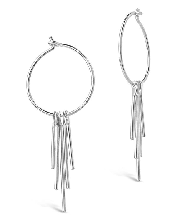 Sterling Silver Dangle Fringe Hoops - Sterling Forever
