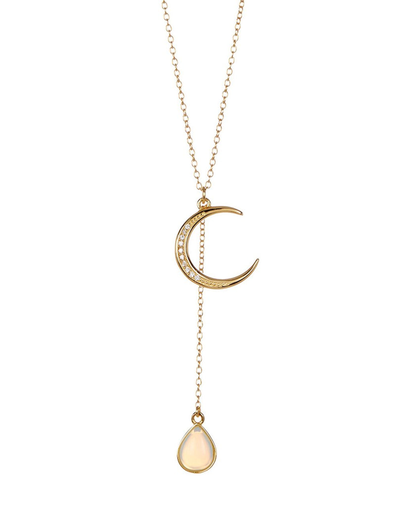Sterling Silver Moonstone Crescent Necklace - Sterling Forever