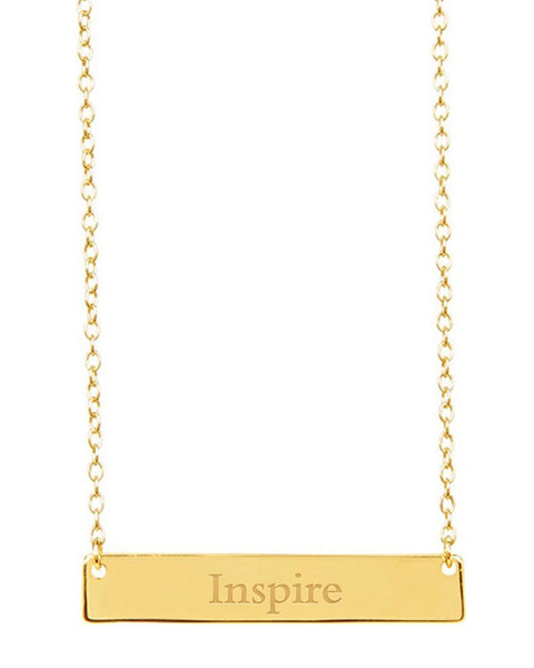 Sterling Silver Inspirational Bar Pendant Necklace Necklace Sterling Forever Gold Inspire