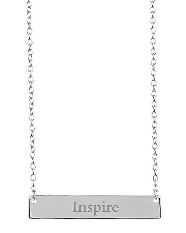 Sterling Silver Inspirational Bar Pendant Necklace - Sterling Forever