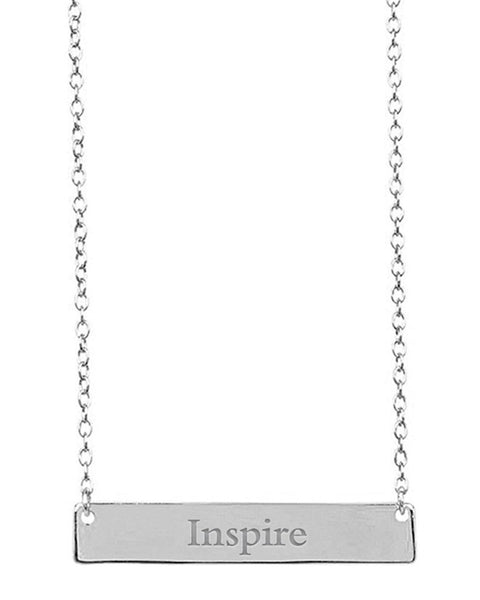 Sterling Silver Inspirational Bar Pendant Necklace Necklace Sterling Forever Silver Inspire