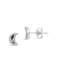Sterling Silver CZ & Shell Moon Stud Earrings