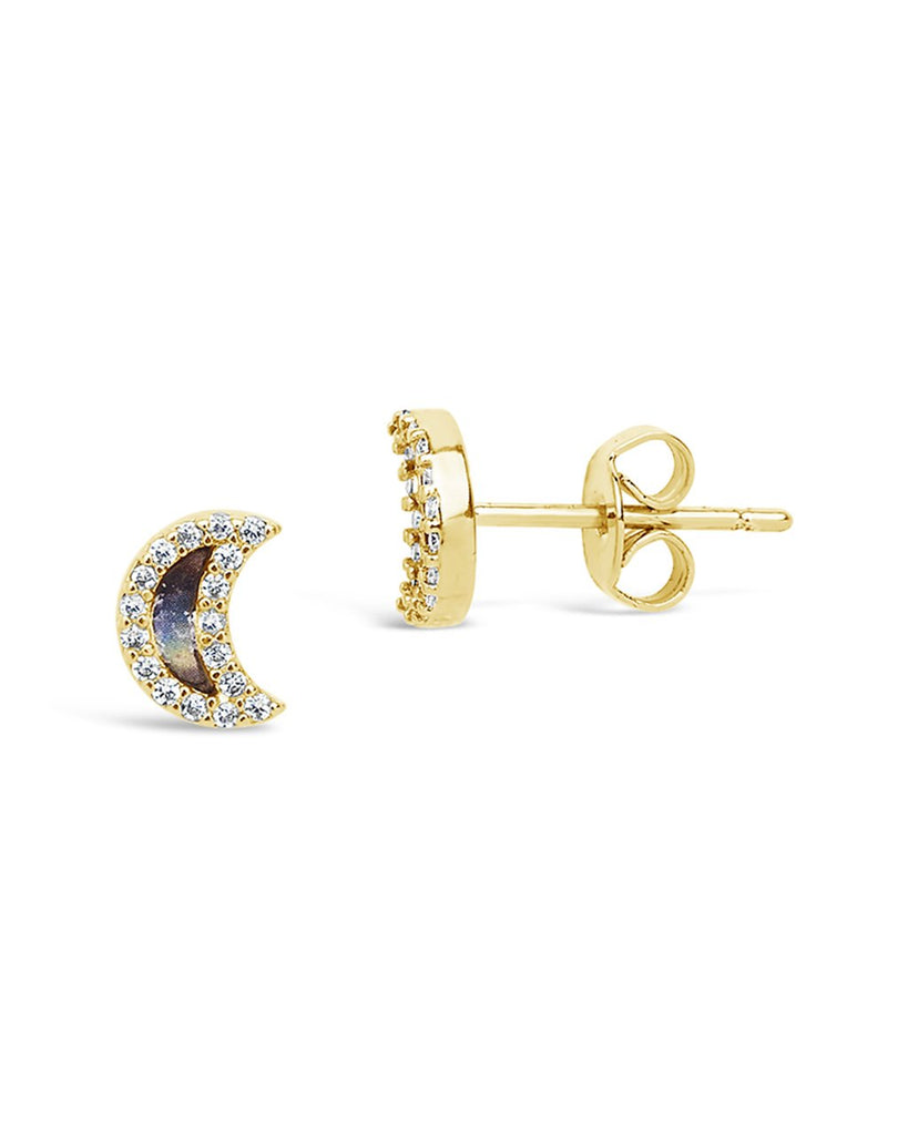 Sterling Silver CZ & Shell Moon Stud Earrings - Sterling Forever