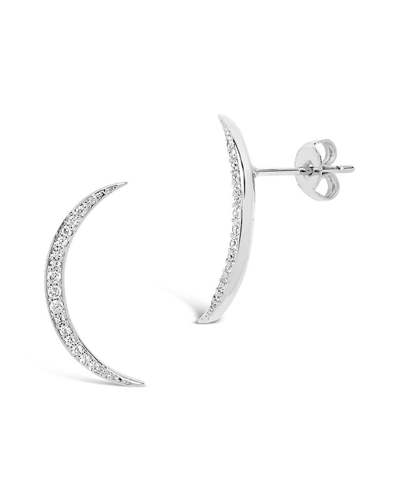 Sterling Silver CZ Crescent Moon Stud Earrings - Sterling Forever