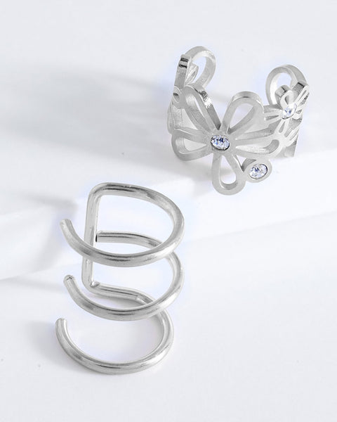 Flower Ear Cuff Set of 2 - Sterling Forever