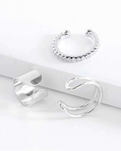 Simple Ear Cuff Set of 3 Earring Sterling Forever Silver
