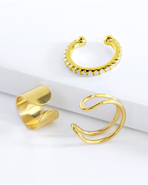 Simple Ear Cuff Set of 3 Earring Sterling Forever Gold
