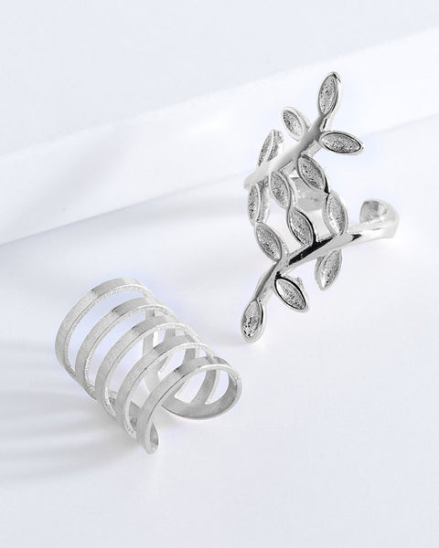 Leaf Ear Cuff Set of 2 Earring Sterling Forever Silver