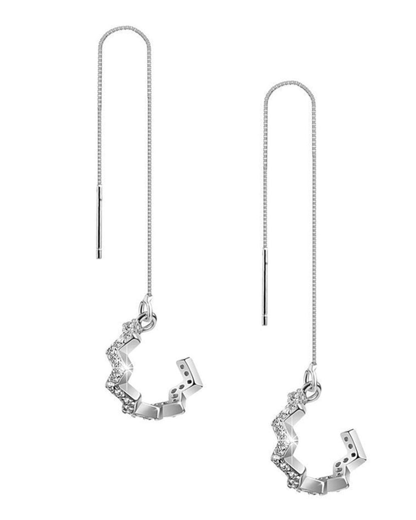 Sterling Silver Zig Zag Ear Cuff with Threader Earrings - Sterling Forever