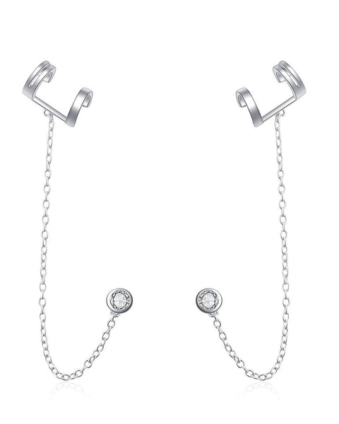 Sterling Silver Bar Ear Cuff with CZ Stud Earrings - Sterling Forever