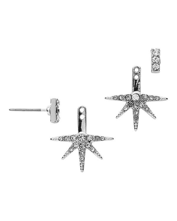 Pave Burst Ear Jackets - Sterling Forever