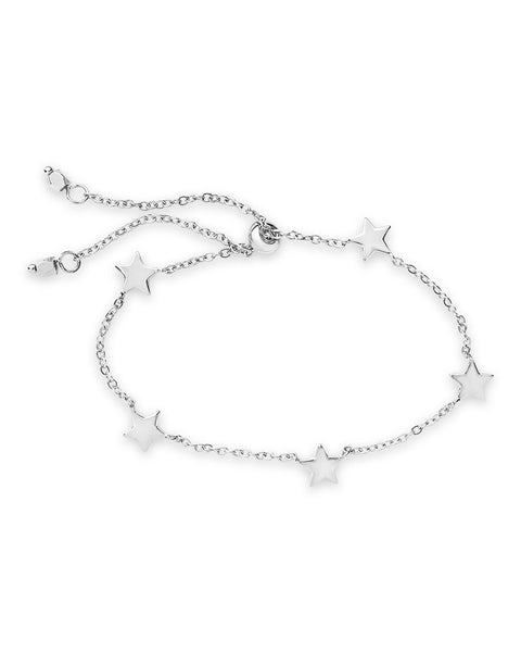 Sterling Silver Multi Star Slider Bracelet