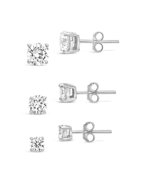 Sterling Silver CZ Stud Earring Set Earring Sterling Forever