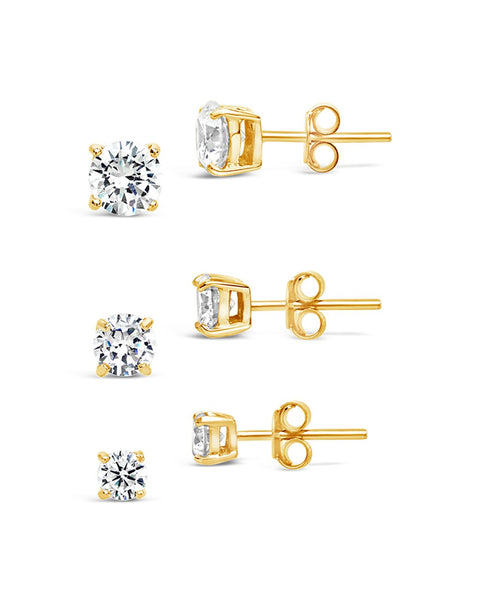Sterling Silver CZ Stud Earring Set