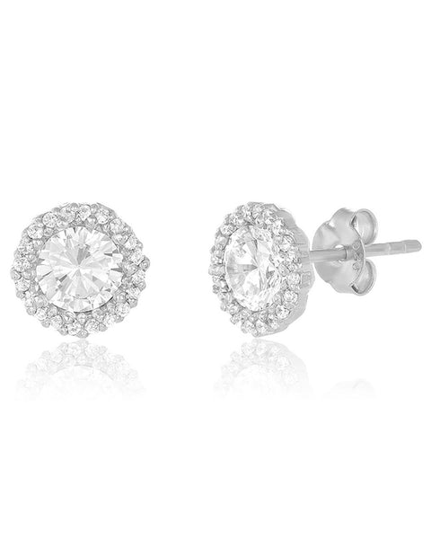 Sterling Silver CZ Halo Stud Earrings