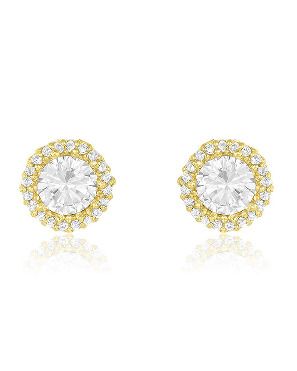 Sterling Silver CZ Halo Stud Earrings - Sterling Forever