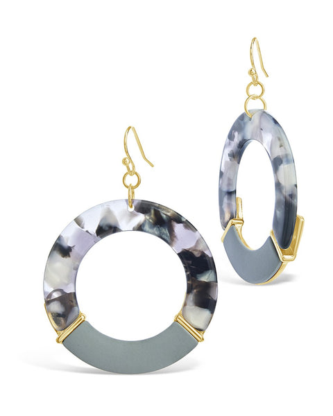 Circle Dangle Resin Drop Earrings