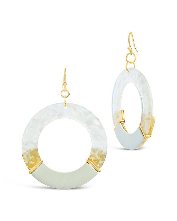 Circle Dangle Resin Drop Earrings - Sterling Forever