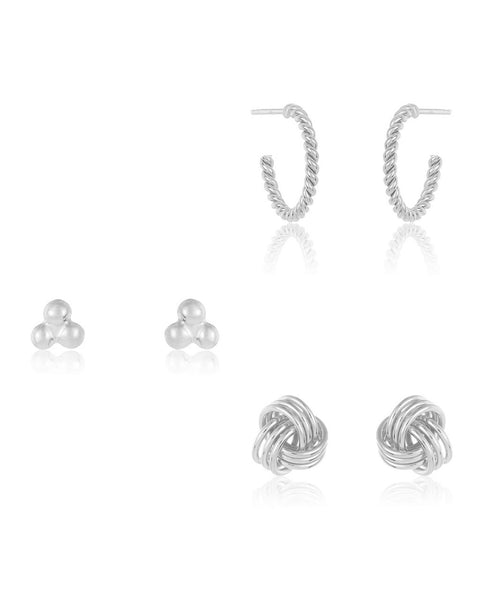 Sterling Silver Love Knot Earring Set of 3