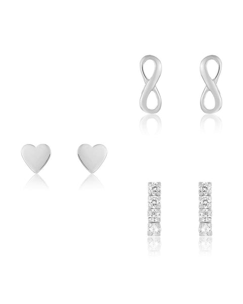 Sterling Silver Heart & Infinity Earring Set of 3