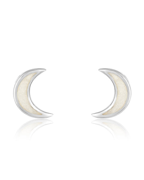 Sterling Silver Mother of Pearl Moon Stud Earrings Earring Sterling Forever Silver