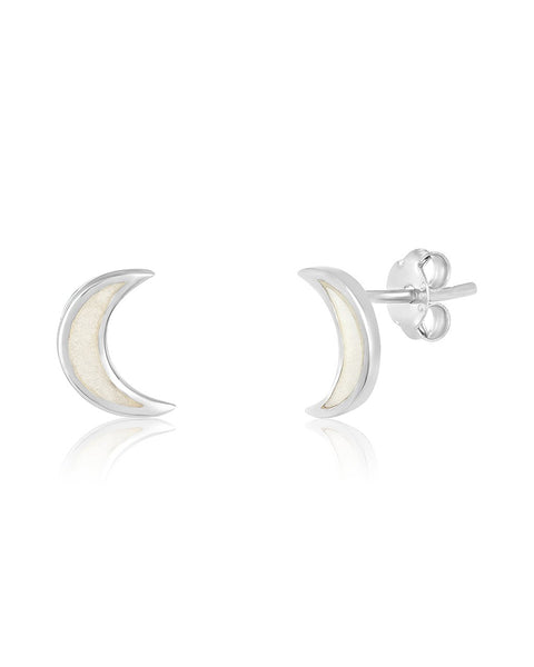 Sterling Silver Mother of Pearl Moon Stud Earrings