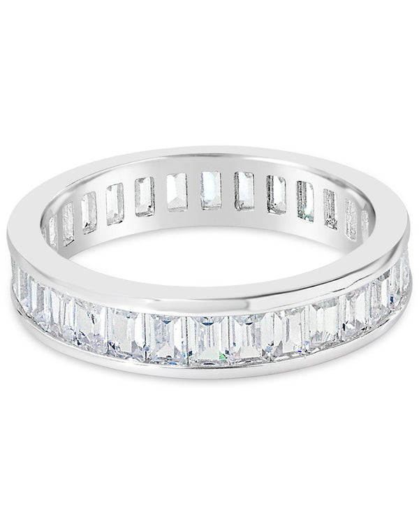 Stackable Sterling Silver & CZ Baguette Band Ring - Sterling Forever