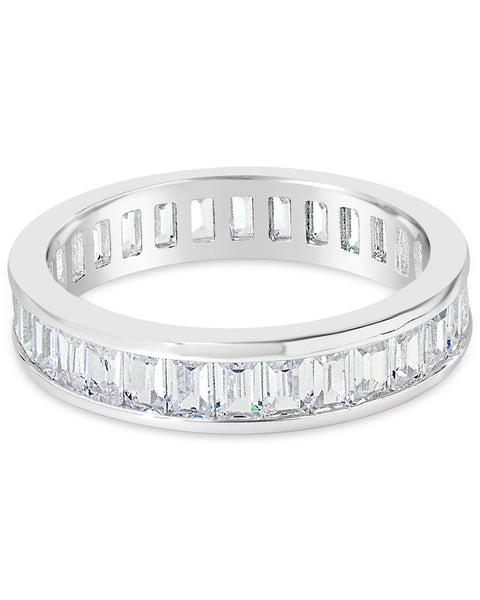 Stackable Sterling Silver & CZ Baguette Band Ring