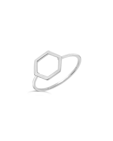Sterling Silver Open Hexagon Ring - Sterling Forever