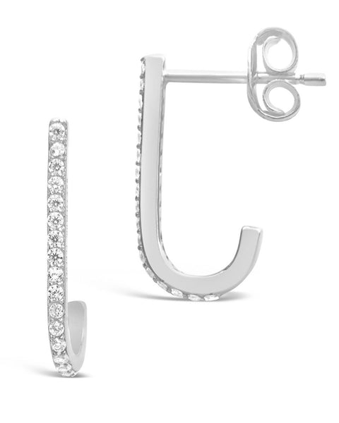 Sterling Silver CZ Suspender Earrings