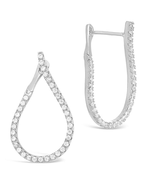 CZ Studded Drop Earrings