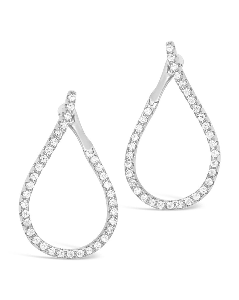 CZ Studded Drop Earrings - Sterling Forever