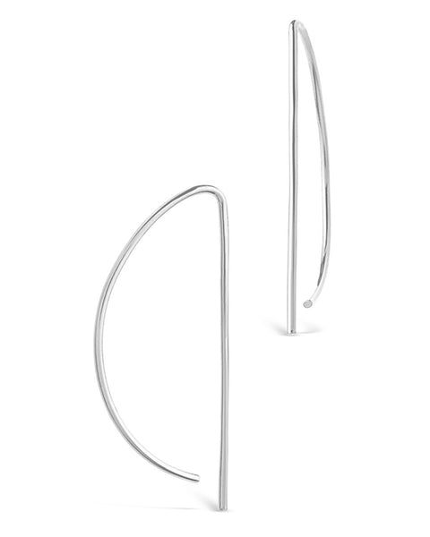 Sterling Silver Half Moon Threader Earring - Sterling Forever