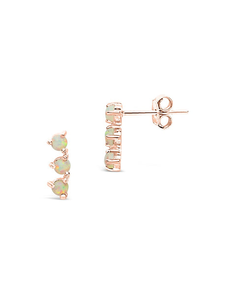 Sterling Silver Triple Opal Stud Earring