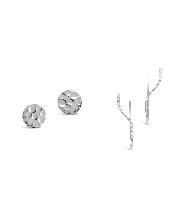 Sterling Silver Hammered Stud & Crawler Set - Sterling Forever