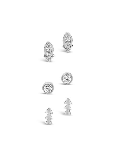 Sterling Silver CZ Bezel & Arrow Earring Set