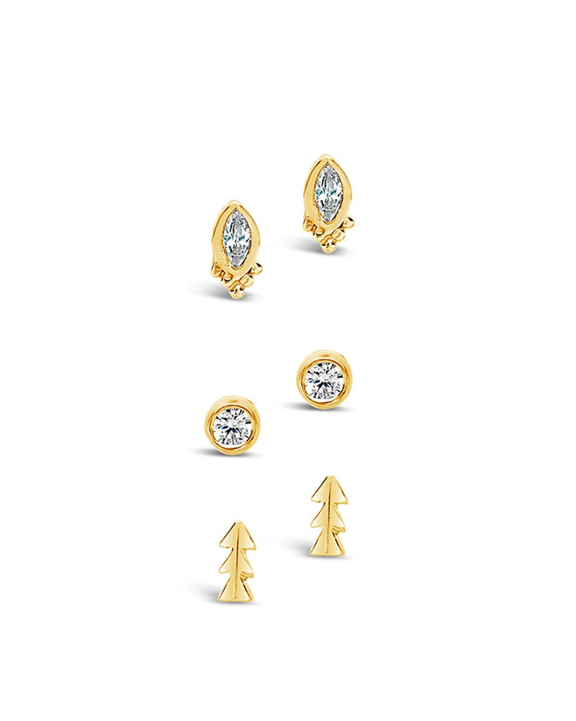 Sterling Silver CZ Bezel & Arrow Earring Set - Sterling Forever