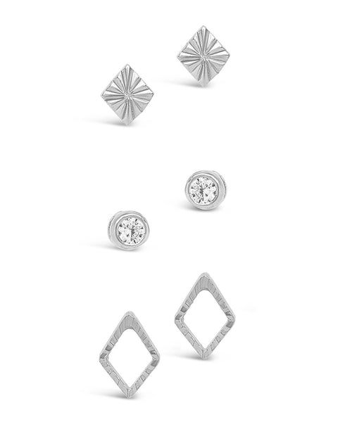 Sterling Silver Textured Earring Set