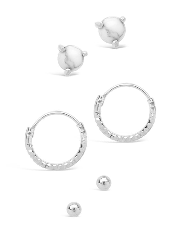 Sterling Silver Micro Hoop Set with Howlite - Sterling Forever