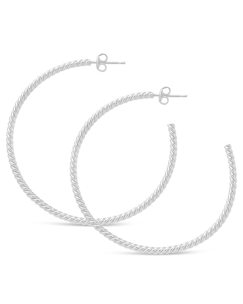 Rope Twist Hoops - Sterling Forever