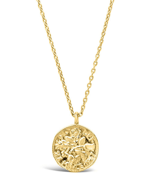 Sterling Silver Textured Round Disk Pendant Necklace Sterling Forever Gold