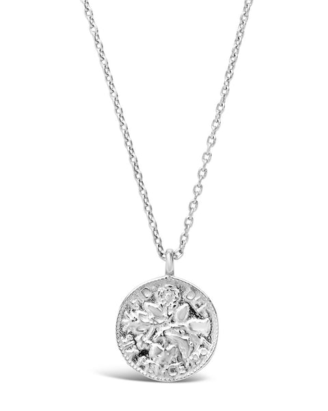 Sterling Silver Textured Round Disk Pendant Necklace Sterling Forever Silver