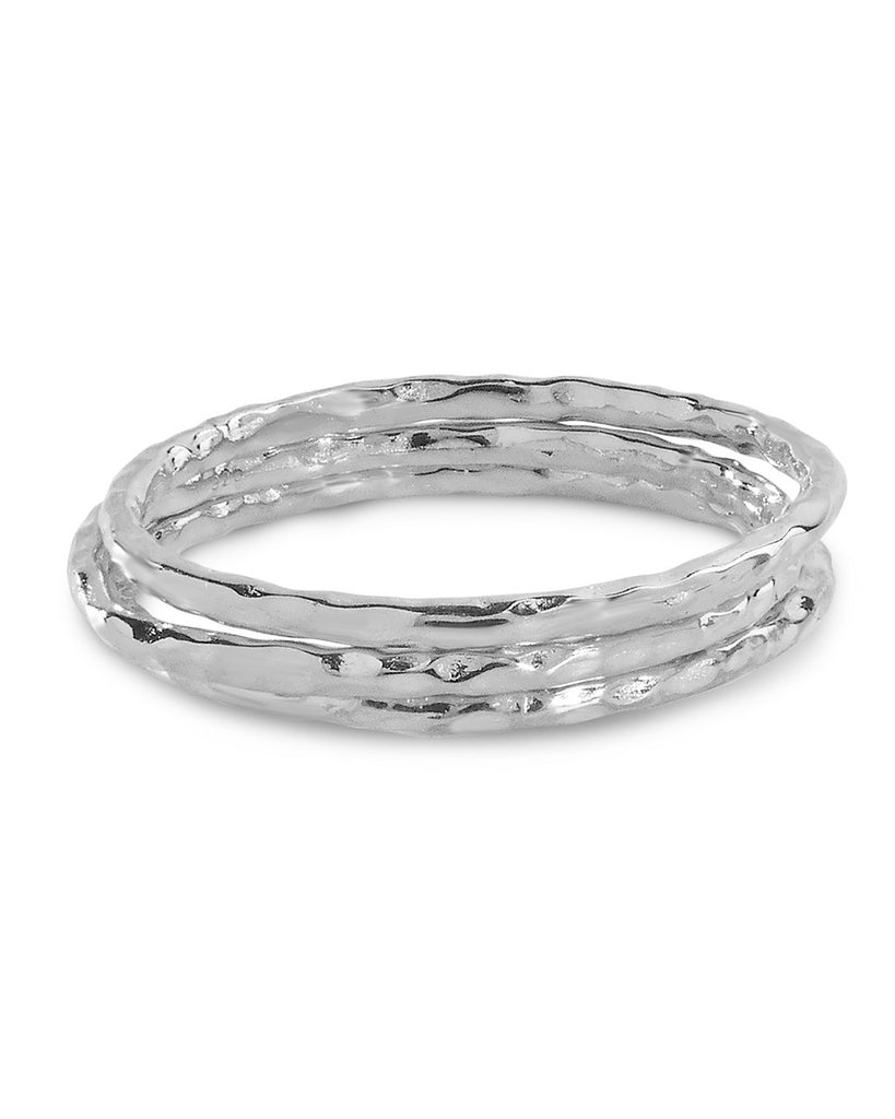 Textured Triple Band Ring Set - Sterling Forever
