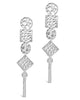 Hammered Geo Drop Earrings - Sterling Forever