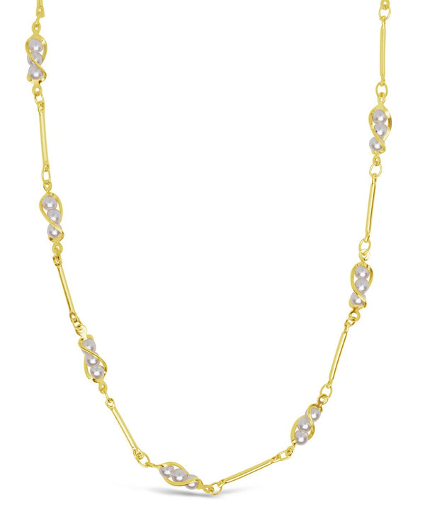 Stationed Triple Pearl Face Mask Chain Face Mask Chain Sterling Forever Gold