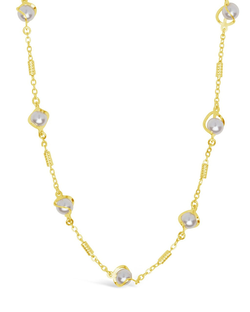 Stationed Pearl Twist Face Mask Chain Face Mask Chain Sterling Forever Gold