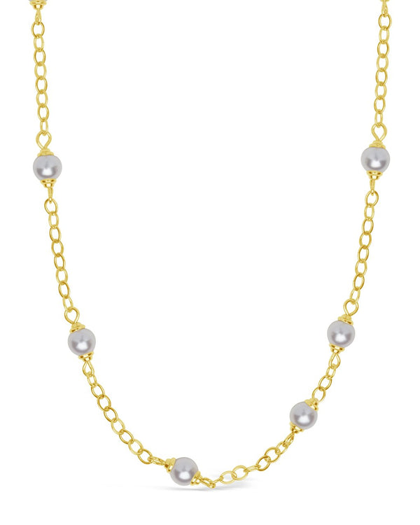 Stationed Pearl Face Mask Chain Face Mask Chain Sterling Forever Gold