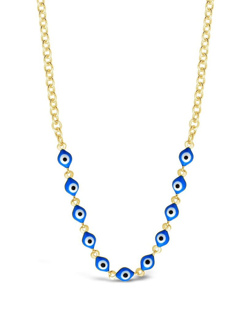 Blue Enamel Evil Eye Face Mask Chain Face Mask Chain Sterling Forever Gold