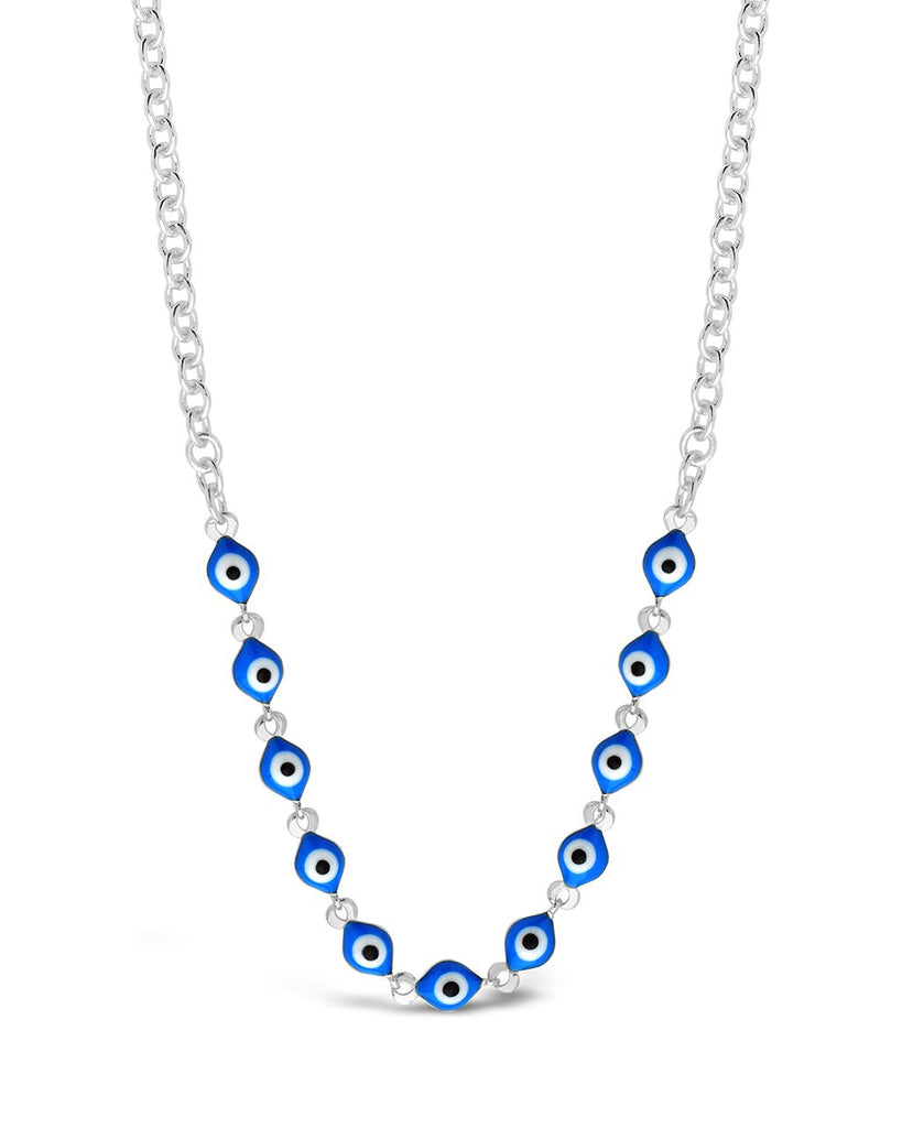 Blue Enamel Evil Eye Face Mask Chain Face Mask Chain Sterling Forever Silver